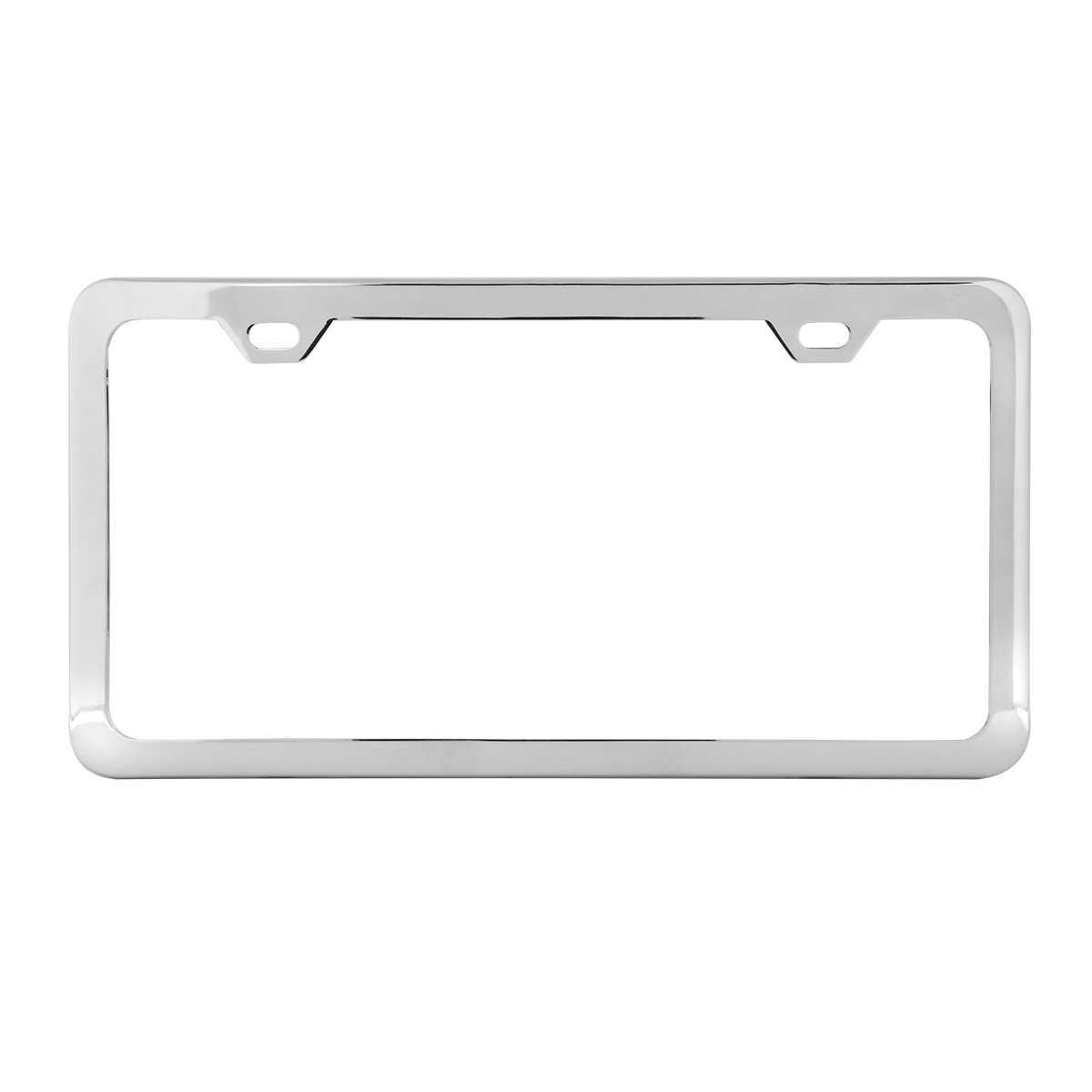 60401 Plain Polished Stainless Steel 2 Hole License Plate Frame