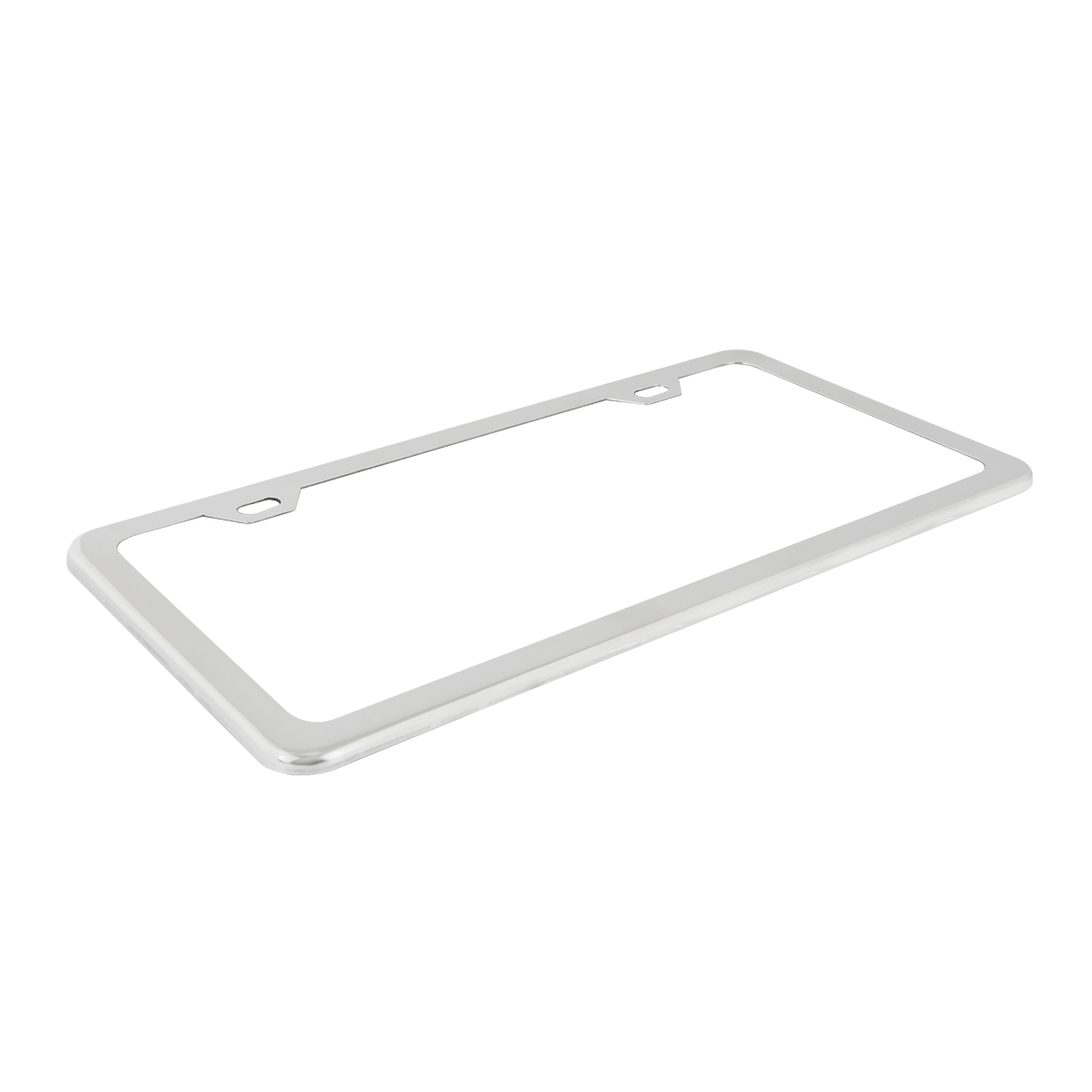 60401 Plain Polished Stainless Steel 2 Hole License Plate Frame - Top View
