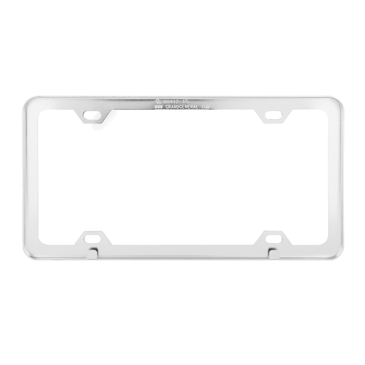 60412 Plain Chrome Plated 4 Hole License Plate Frame - Back View
