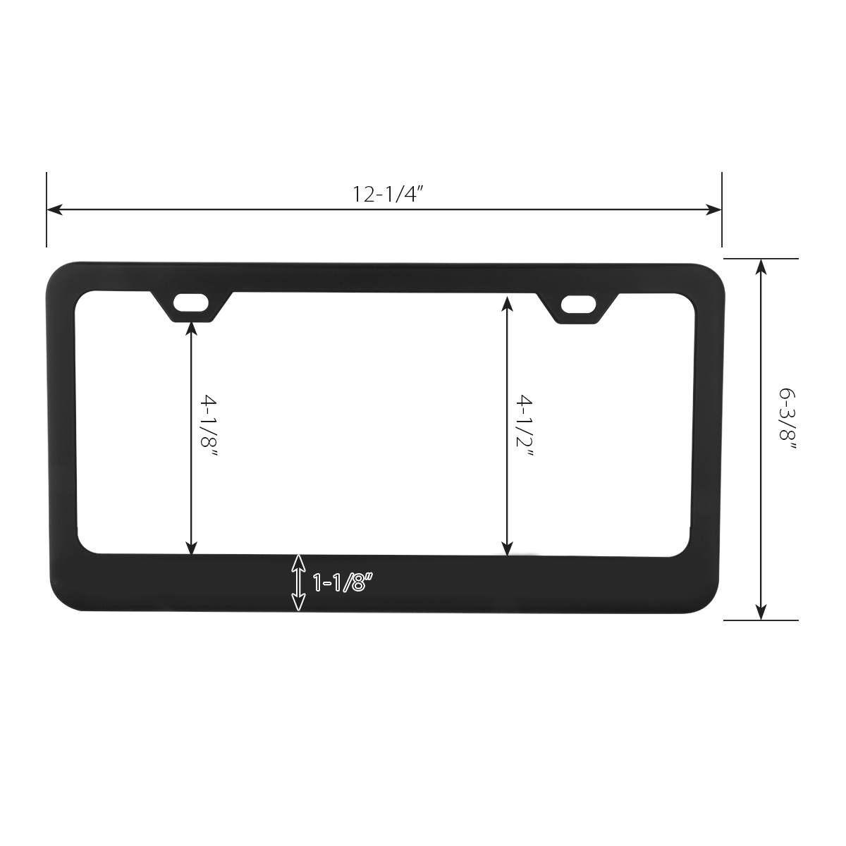 60439 Flat/Matte Plain Black 2 Hole License Plate Frame - Measurements