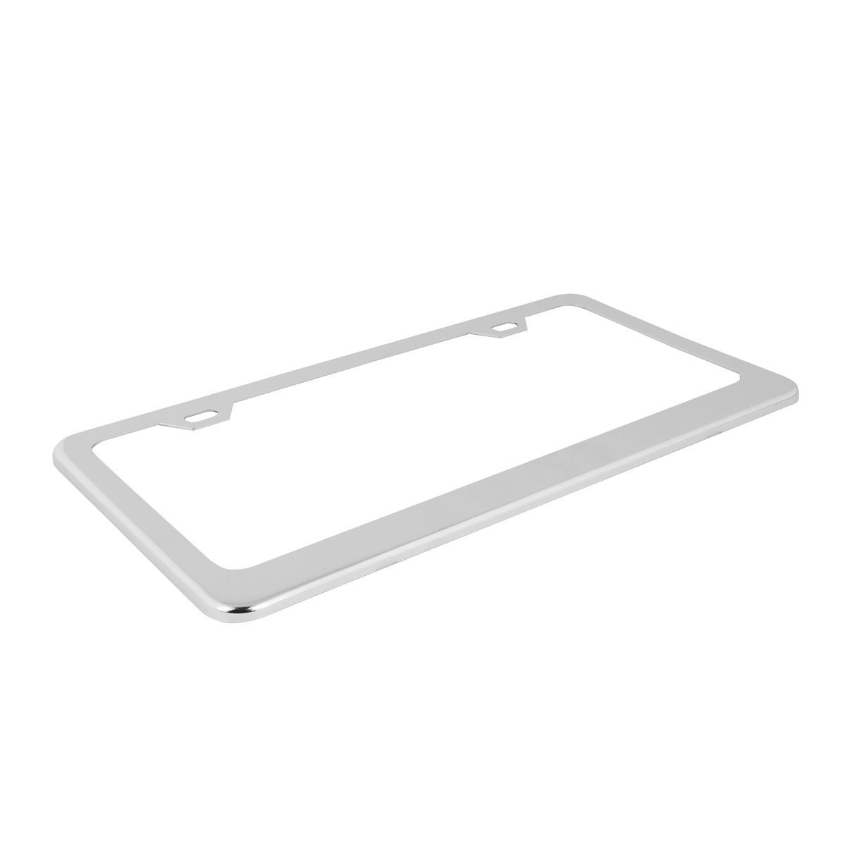 60440 Plain Chrome Plated Steel 2 Hole License Plate Frame - Top View