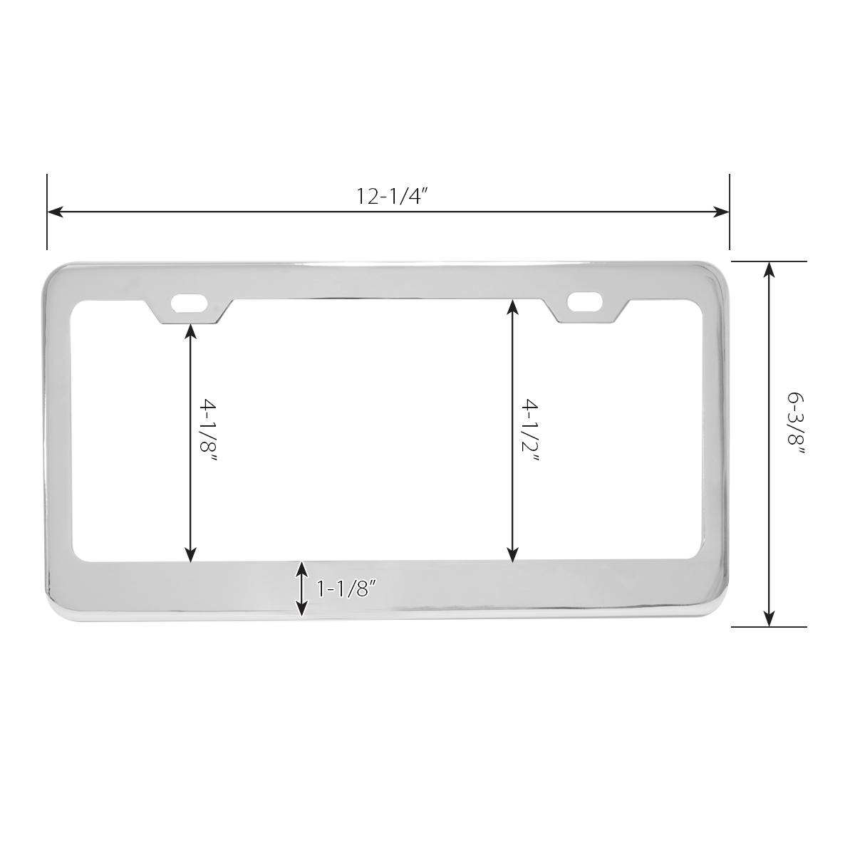 60440 Plain Chrome Plated Steel 2 Hole License Plate Frame - Measurements