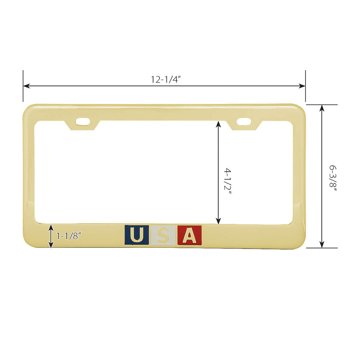 Brass-Plated (Gold Color) USA License Plate Frame - Measurements