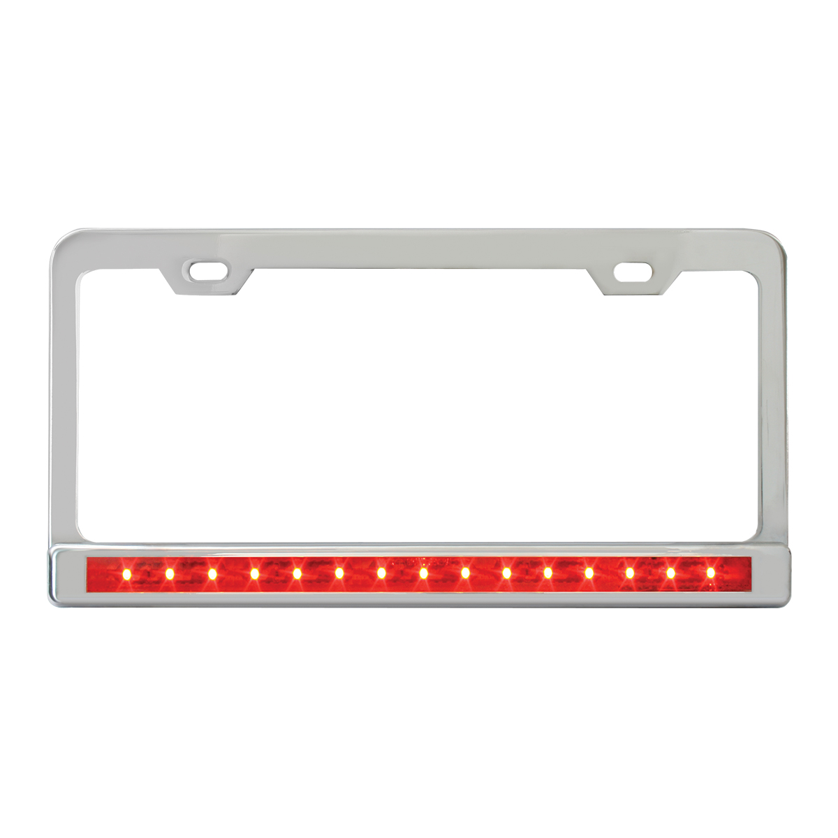 "Chrome Plated Steel 2 Holes License Plate Frame with 12"" LED Red/Red"