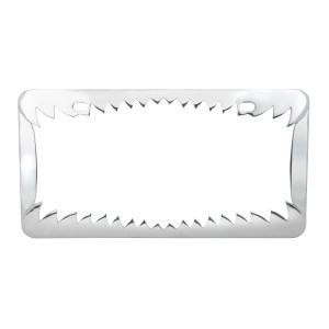 Chrome Die Cast Shark Teeth License Plate Frame