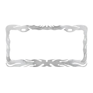 Chrome Die Cast Flame License Plate Frame - Back View