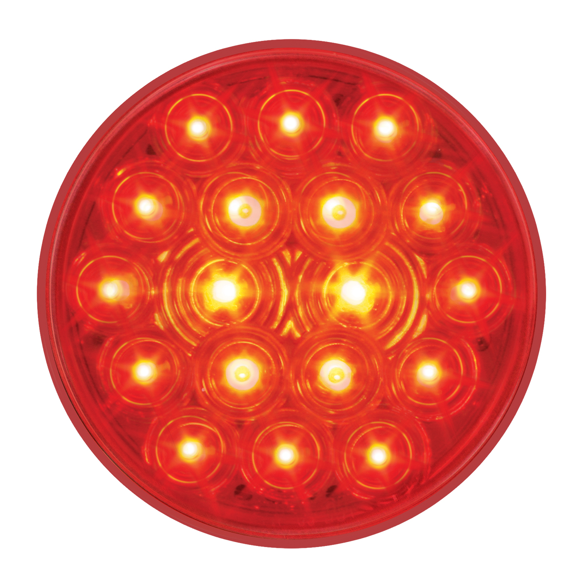"#76452 - 4"" Round Fleet LED Flat Red/Red Light"