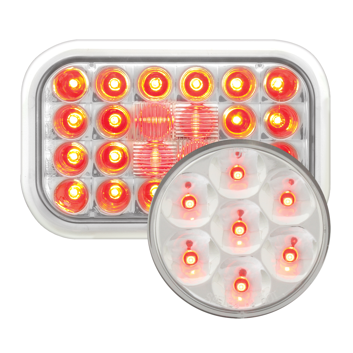 #77183/#76583 Pearl LED Flat - Red/Clear