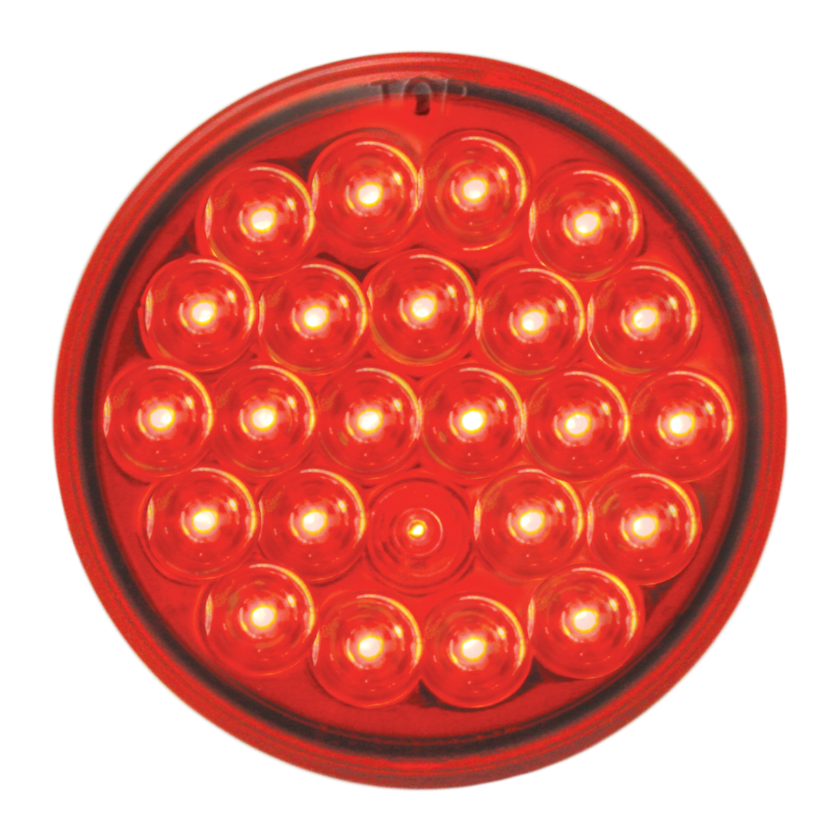 """#78273 - 4"""" Round Pearl LED Flat Red/Red Light"""