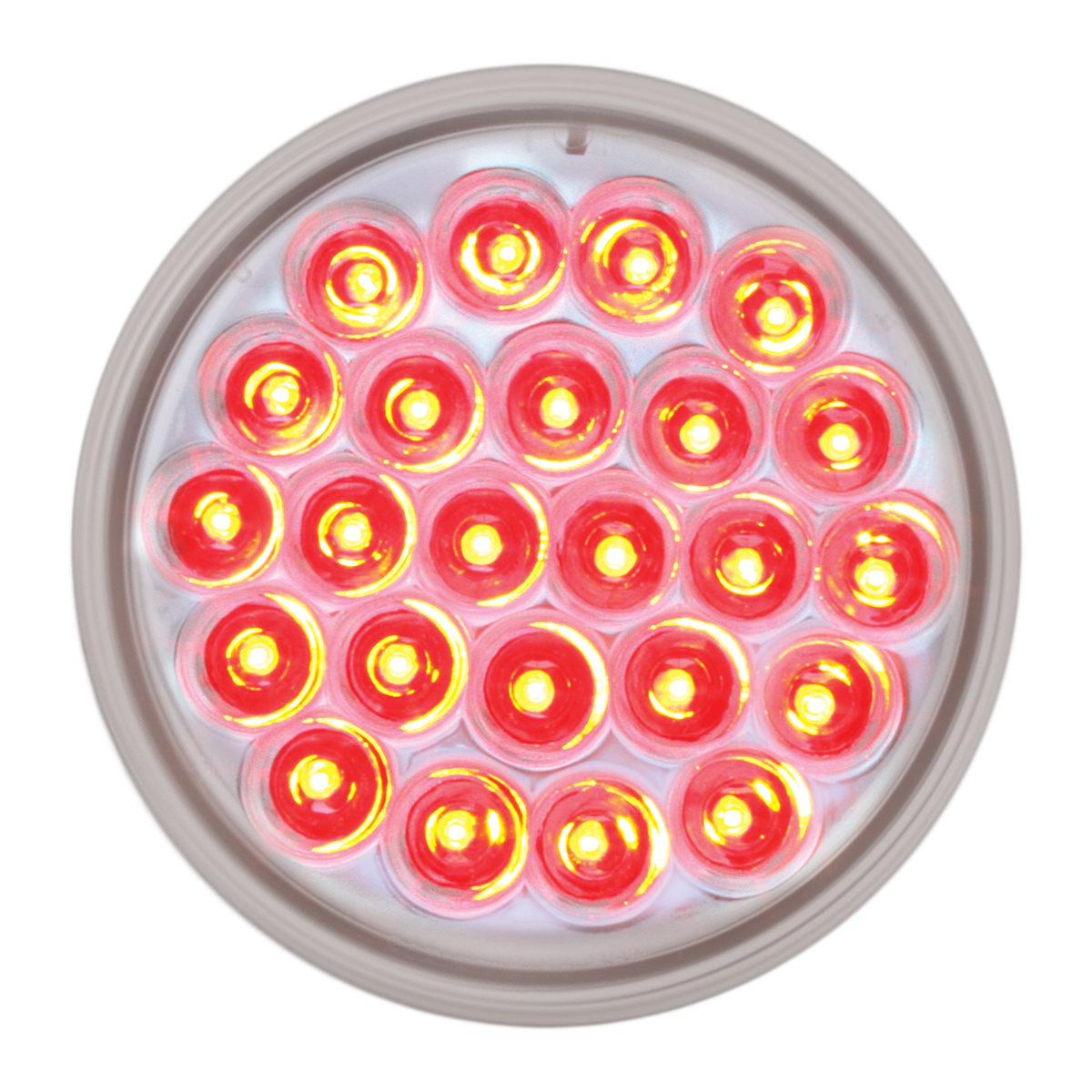 """#78274 - 4"""" Round Pearl LED Flat Red/Clear Light"""
