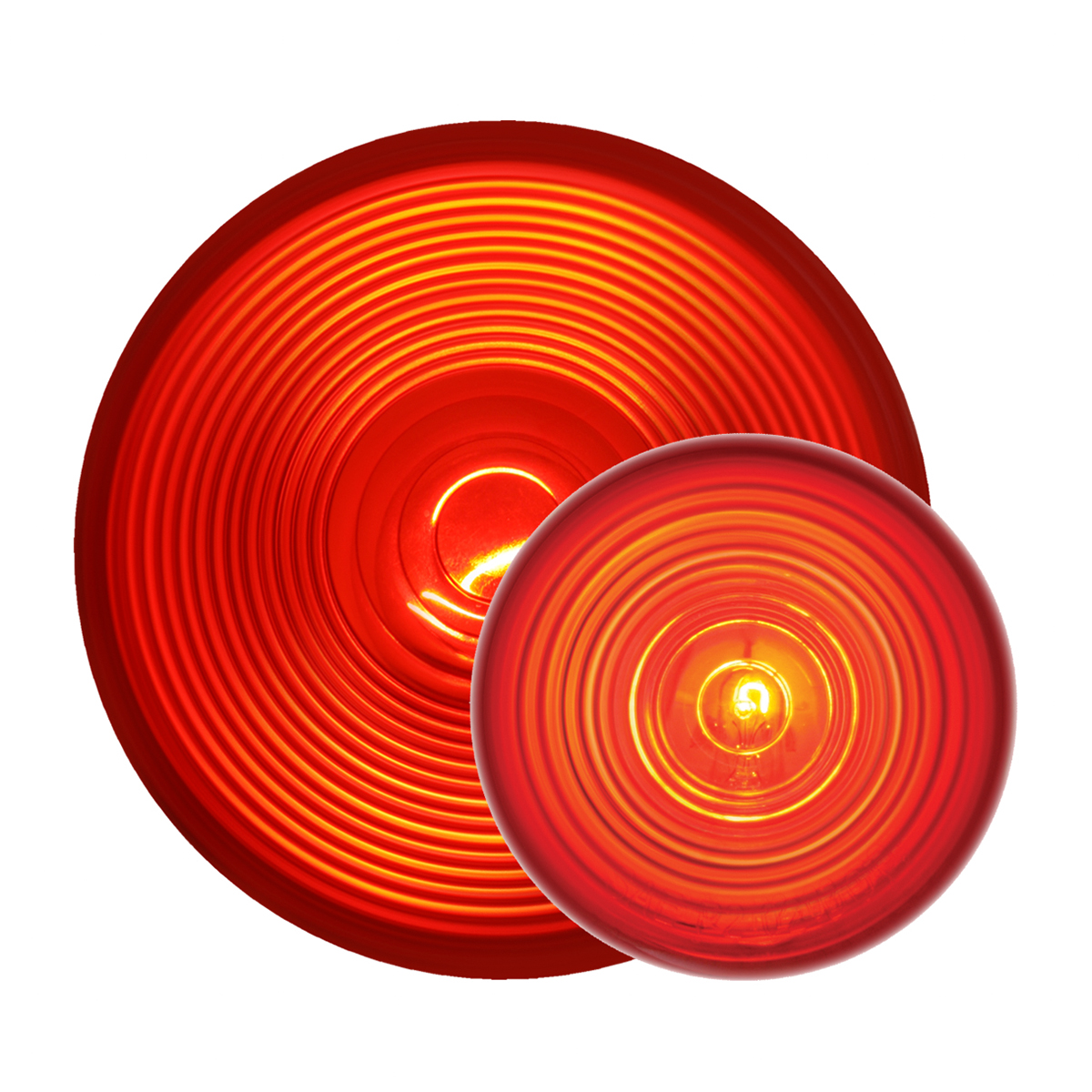 Grand General Stainless Steel Rear Light Panel and Cover with 4-4 inches and 4-2 inches Red Incandescent Light