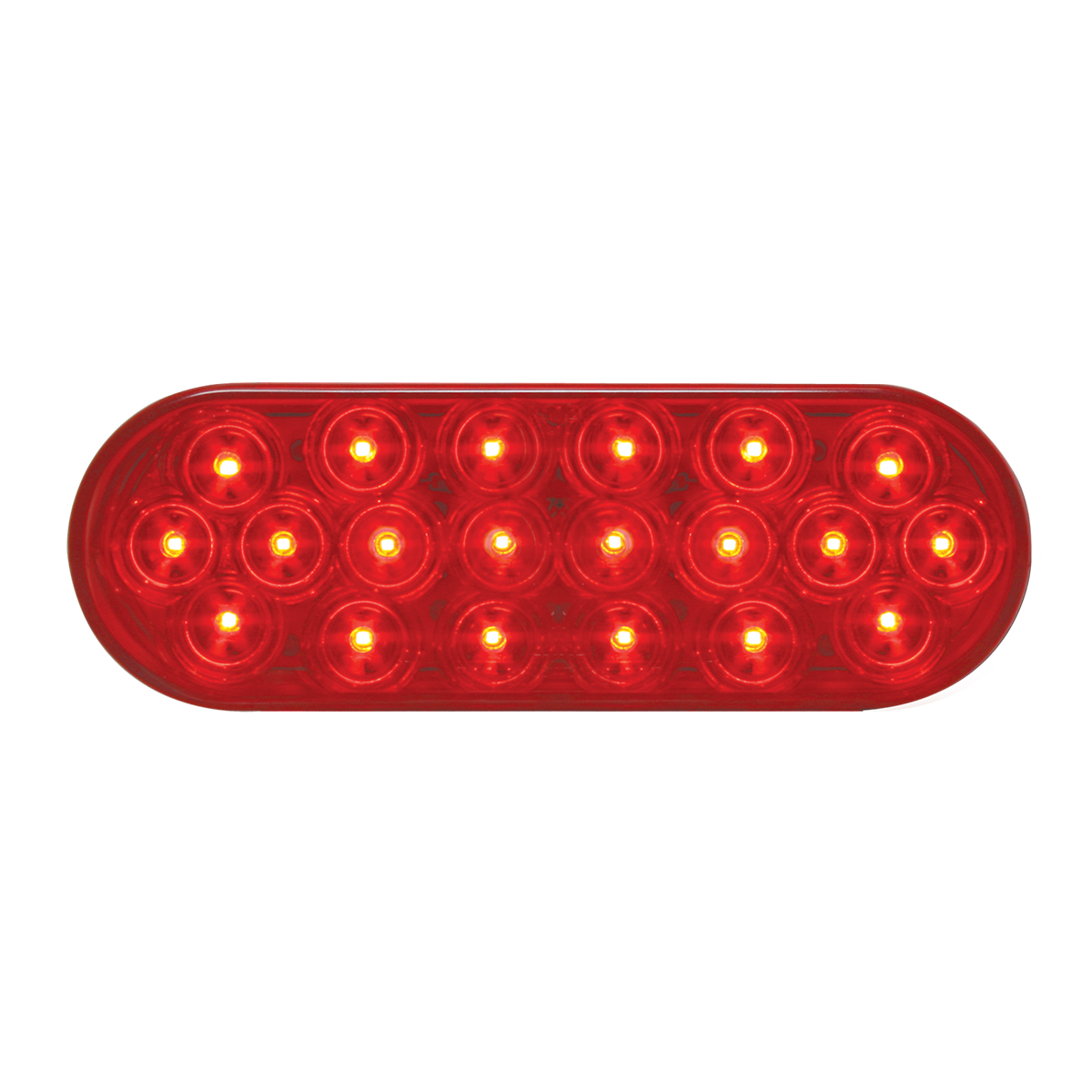 #87721 - Oval Fleet LED Flat Red/Red Light - Slanted