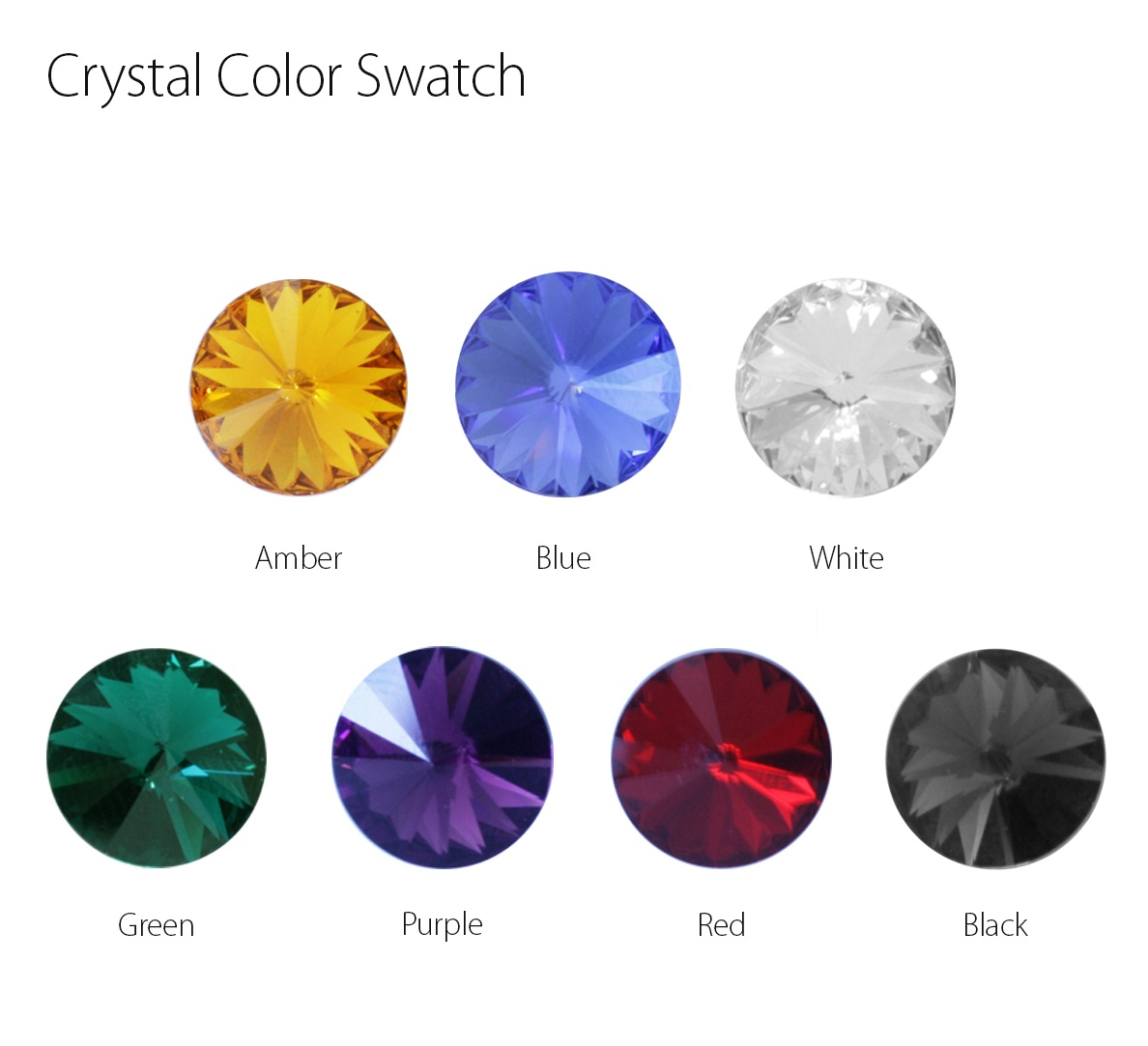 Crystal Color Swatch for Spot Light Handles with Crystal on Top