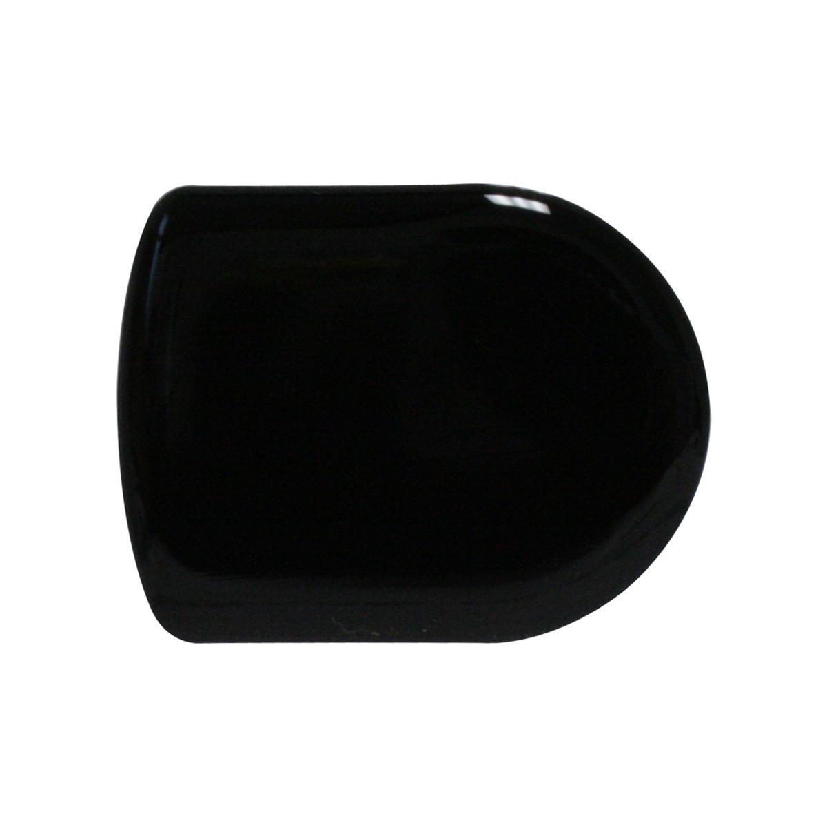 93121 Plain Black D-Shape Glossy Sticker
