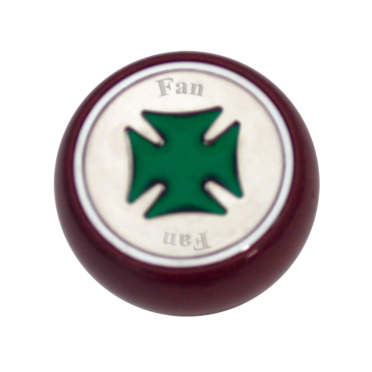 95463 Green Iron Cross Dashboard Control Knob w/ Fan Script