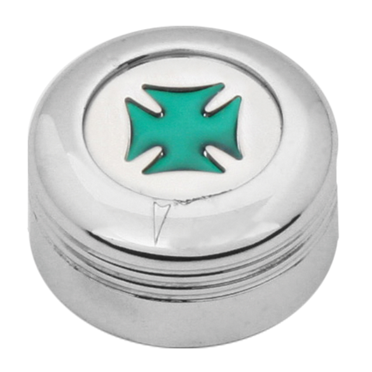 Chrome Plastic A/C Knob w/ Green Iron Cross for Pete