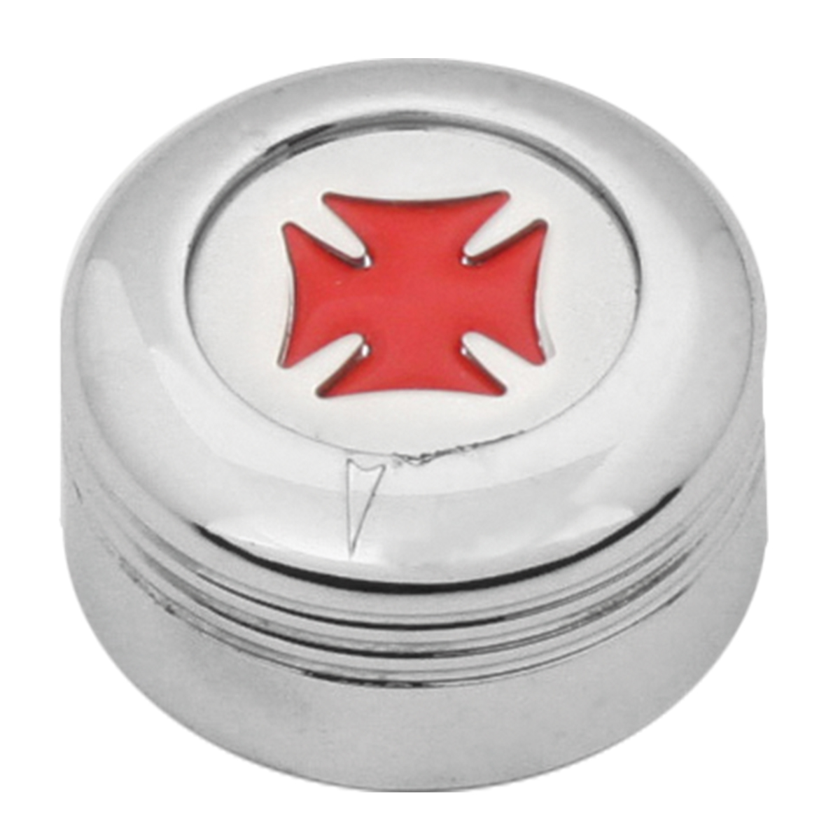 Chrome Plastic A/C Knob w/ Red Iron Cross for Pete