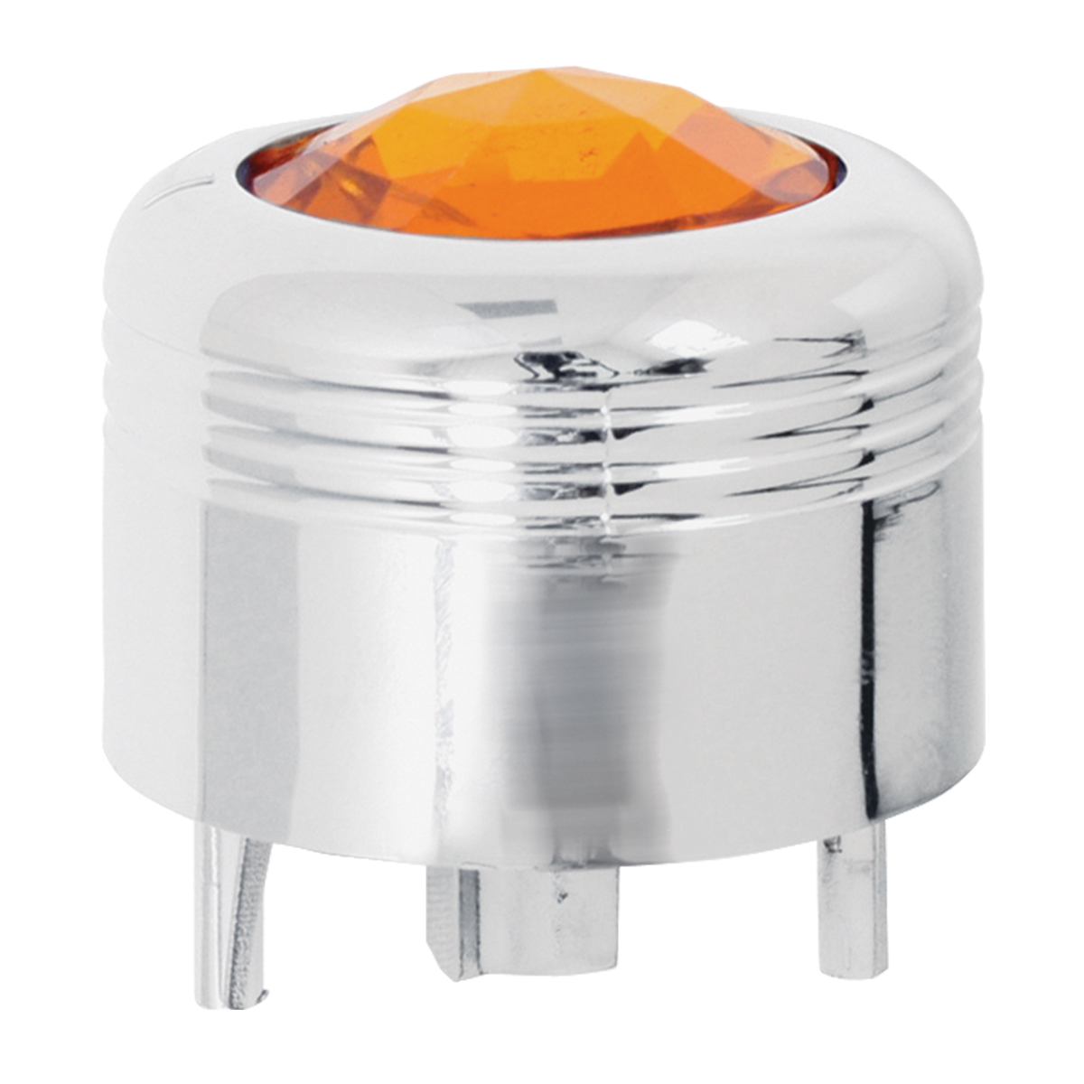 69040 Chrome Plastic A/C Knob w/ Amber Plastic Crystal for Pete