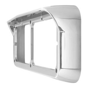 87590 Chrome Plastic Rectangular Dual Headlight Bezel with Visor