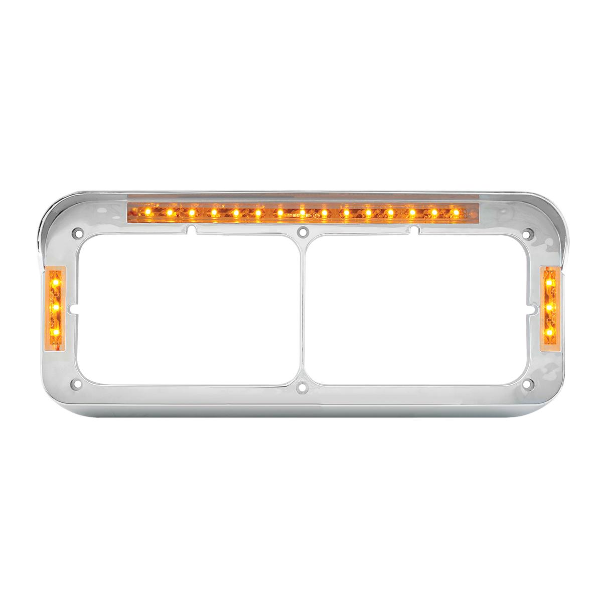 87596 Dual Rectangular Headlight Bezel w/ Visor in Amber LED/Clear Lens