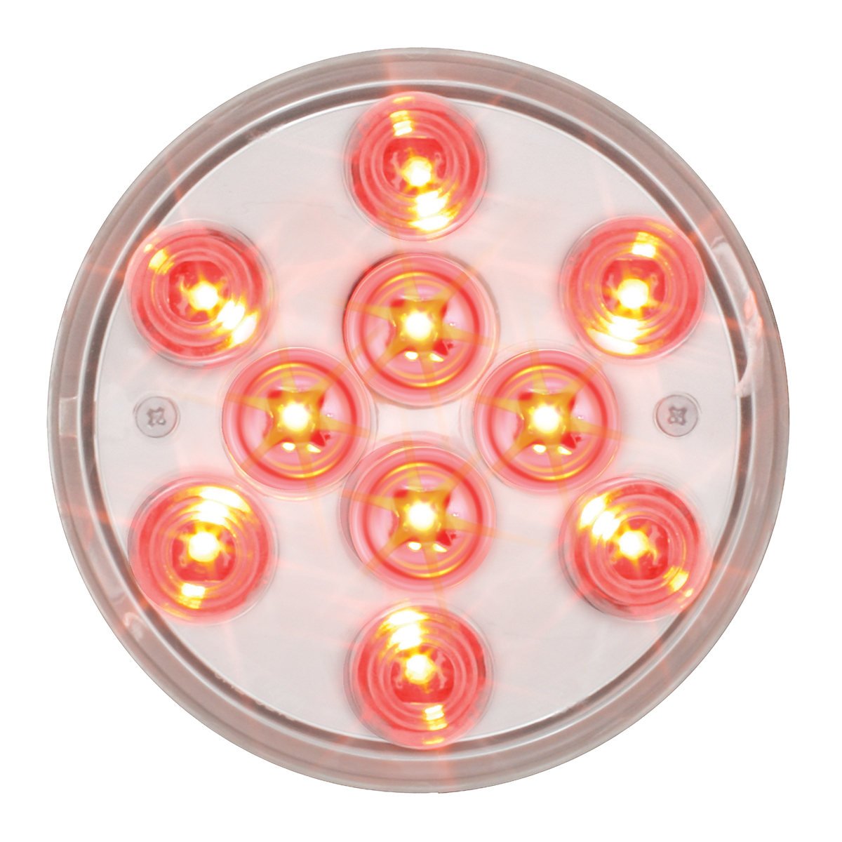 "76843 4"" Mega 10 Plus LED Light in Red/Clear"