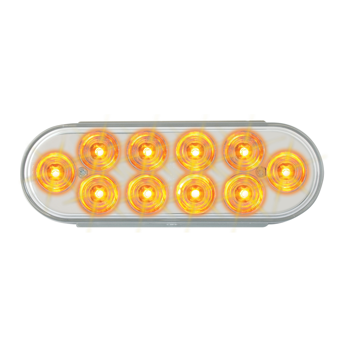 76861 Oval Mega 10 Plus LED Light in Amber/Clear