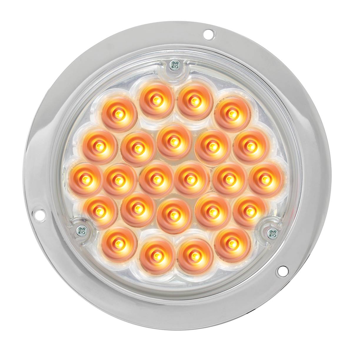 "87581 4"" Pearl LED Light in Amber/Clear w/ Chrome Housing"