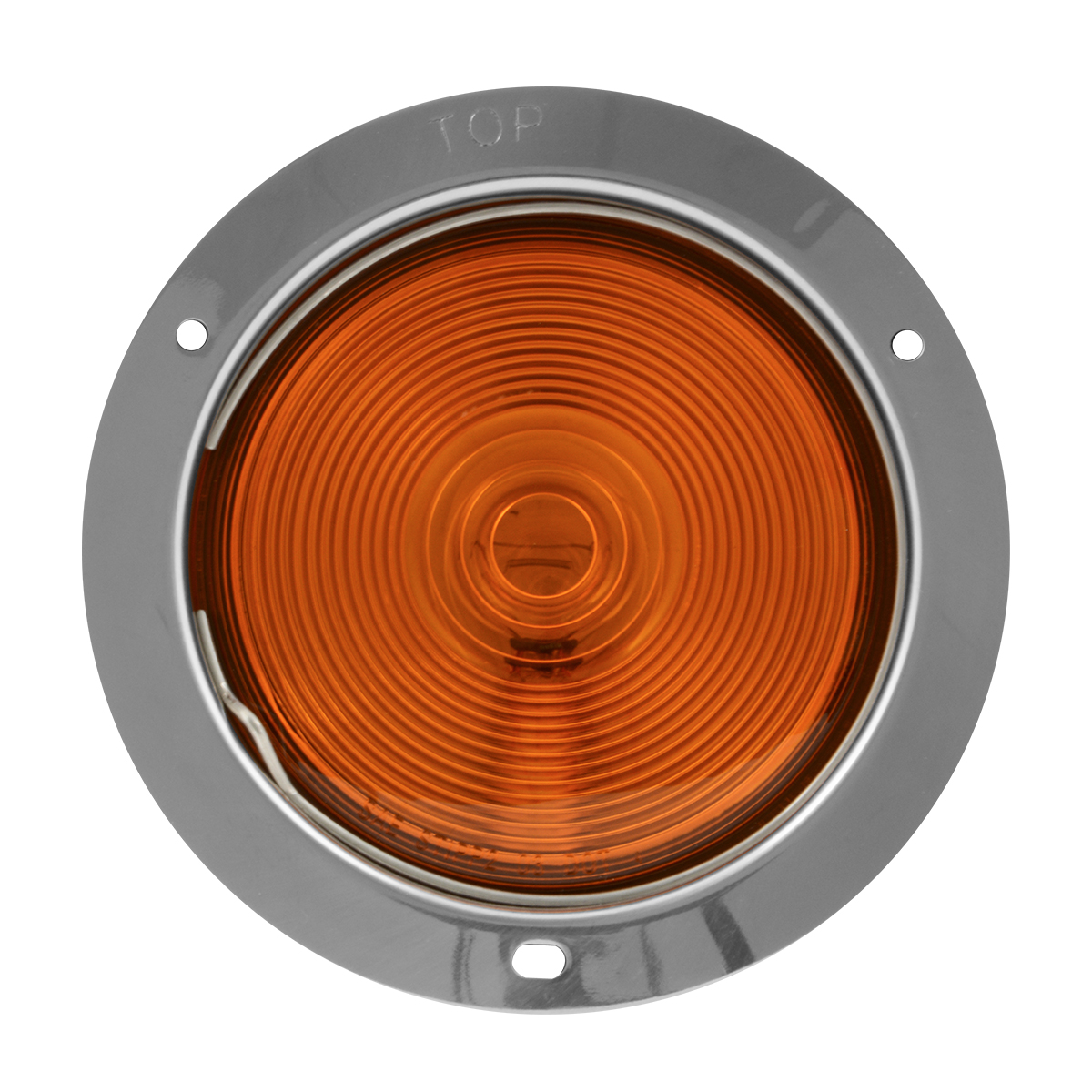 """#90387 4"""" Flange Mount Light with Stainless Steel Housing - Amber Lens"""