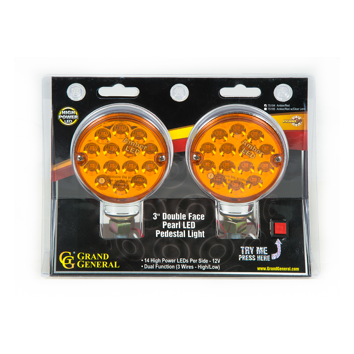 """75194 Twin Pack 3"""" Double Face Pearl LED Pedestal Light"""