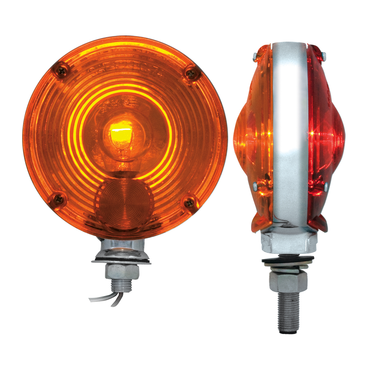 """#80305 4"""" Double Face Pedestal Amber/Red Light - Profile View"""