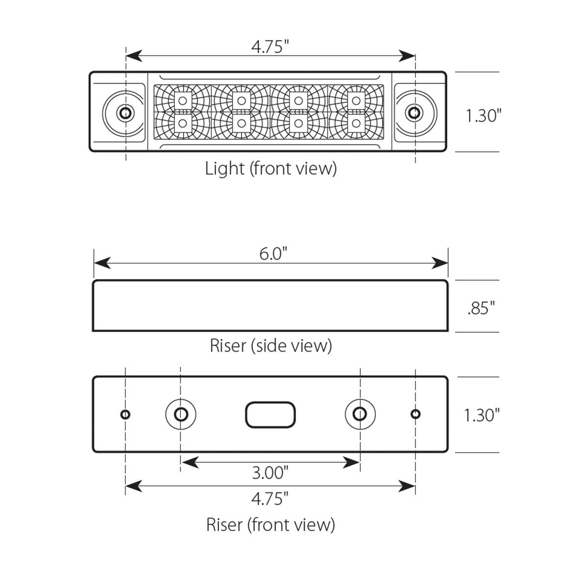 Slim Rectangular Spyder LED Marker Light with Riser
