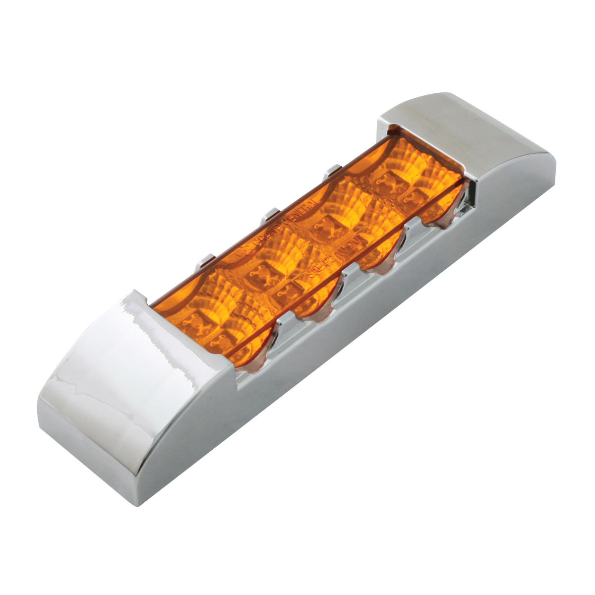 76170 Slim Rectangular Spyder LED Light in Amber/Amber with Chrome Plastic Bezel