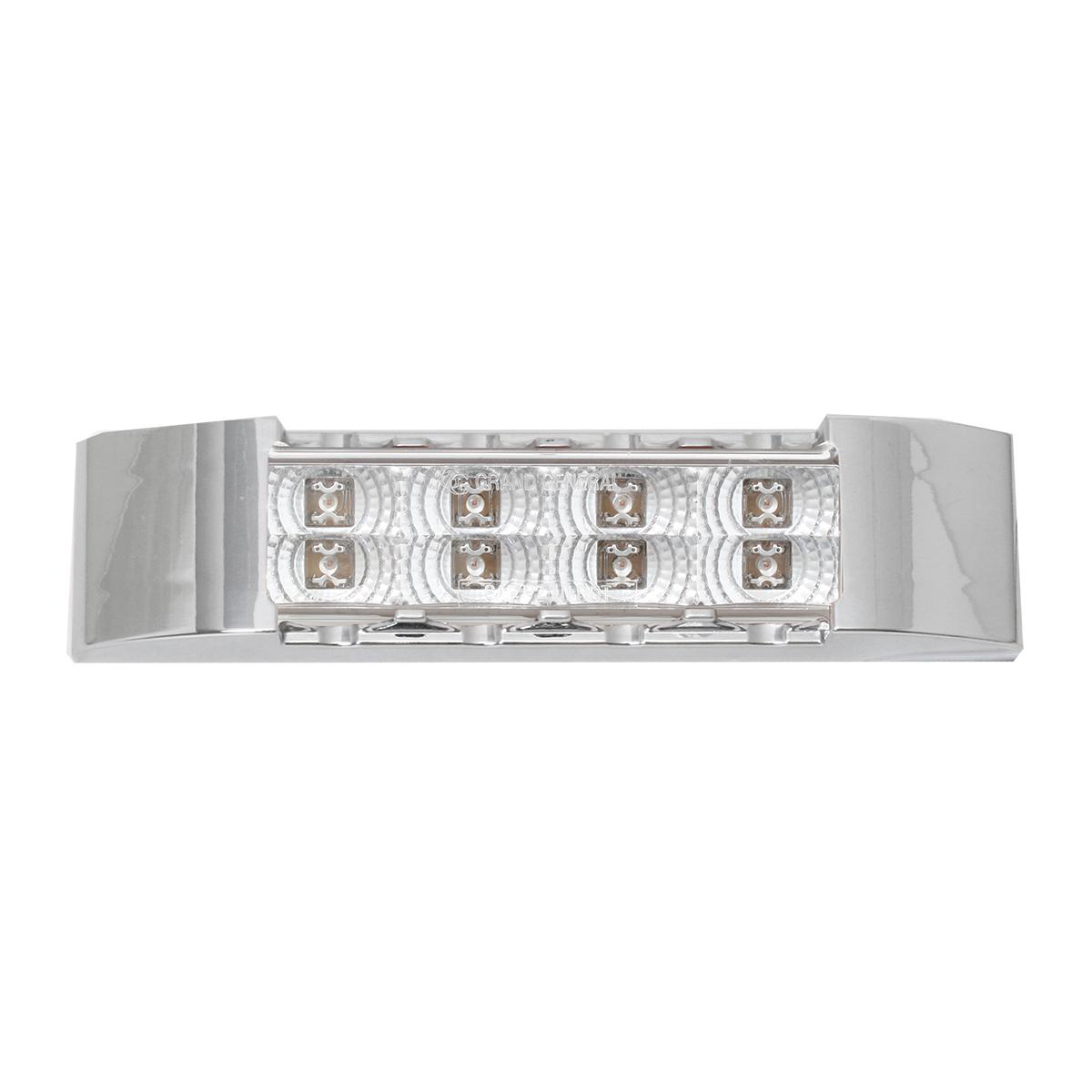 Slim Rectangular Spyder LED Light in Clear Lens with Chrome Plastic Bezel