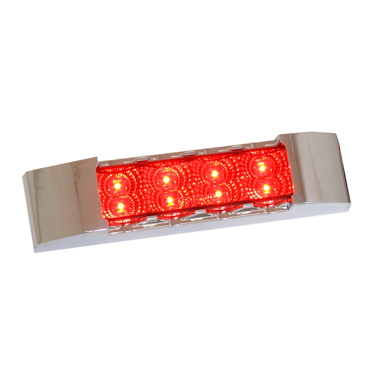 76172 Slim Rectangular Spyder LED Light in Red/Red with Chrome Plastic Bezel