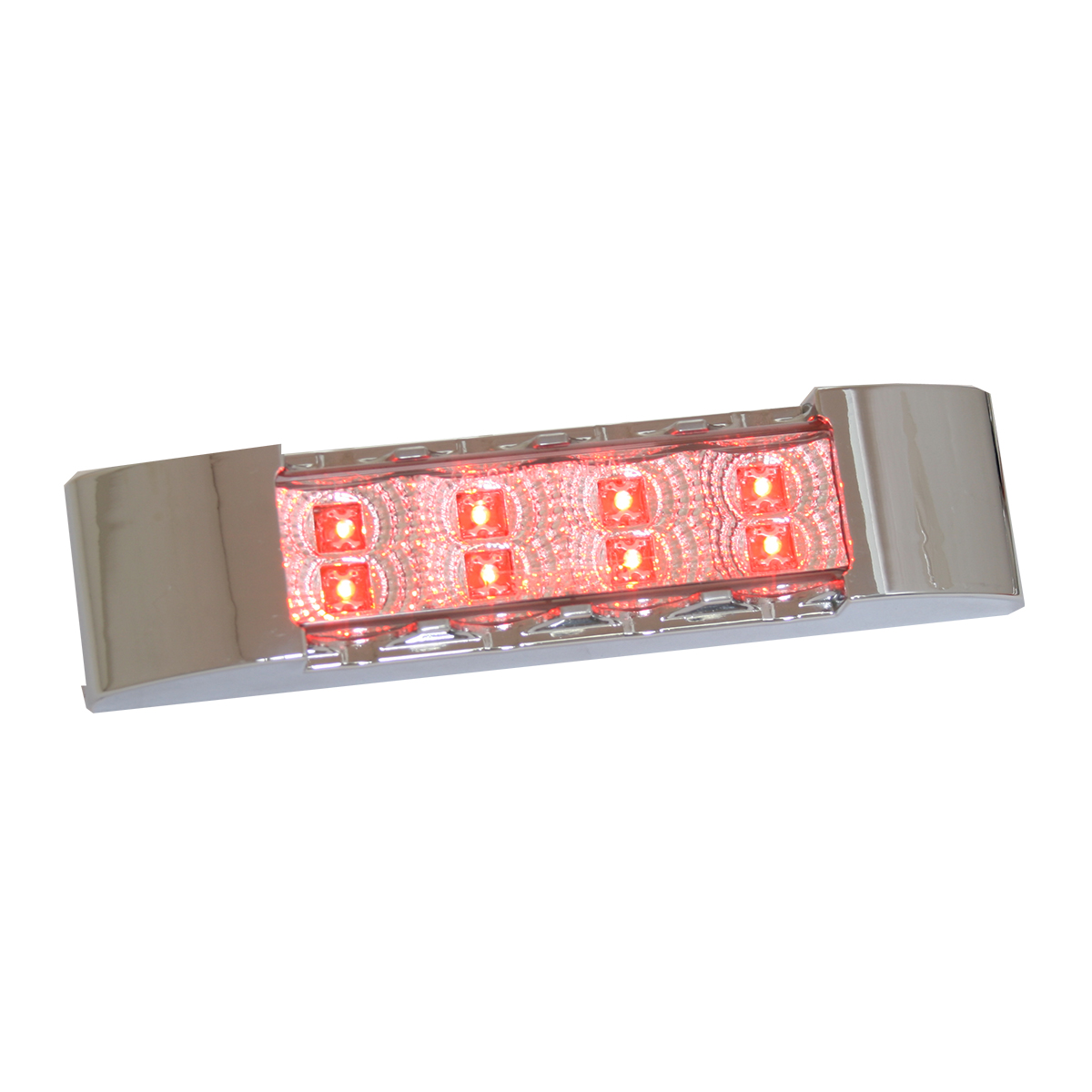76173 Slim Rectangular Spyder LED Light in Red/Clear with Chrome Plastic Bezel