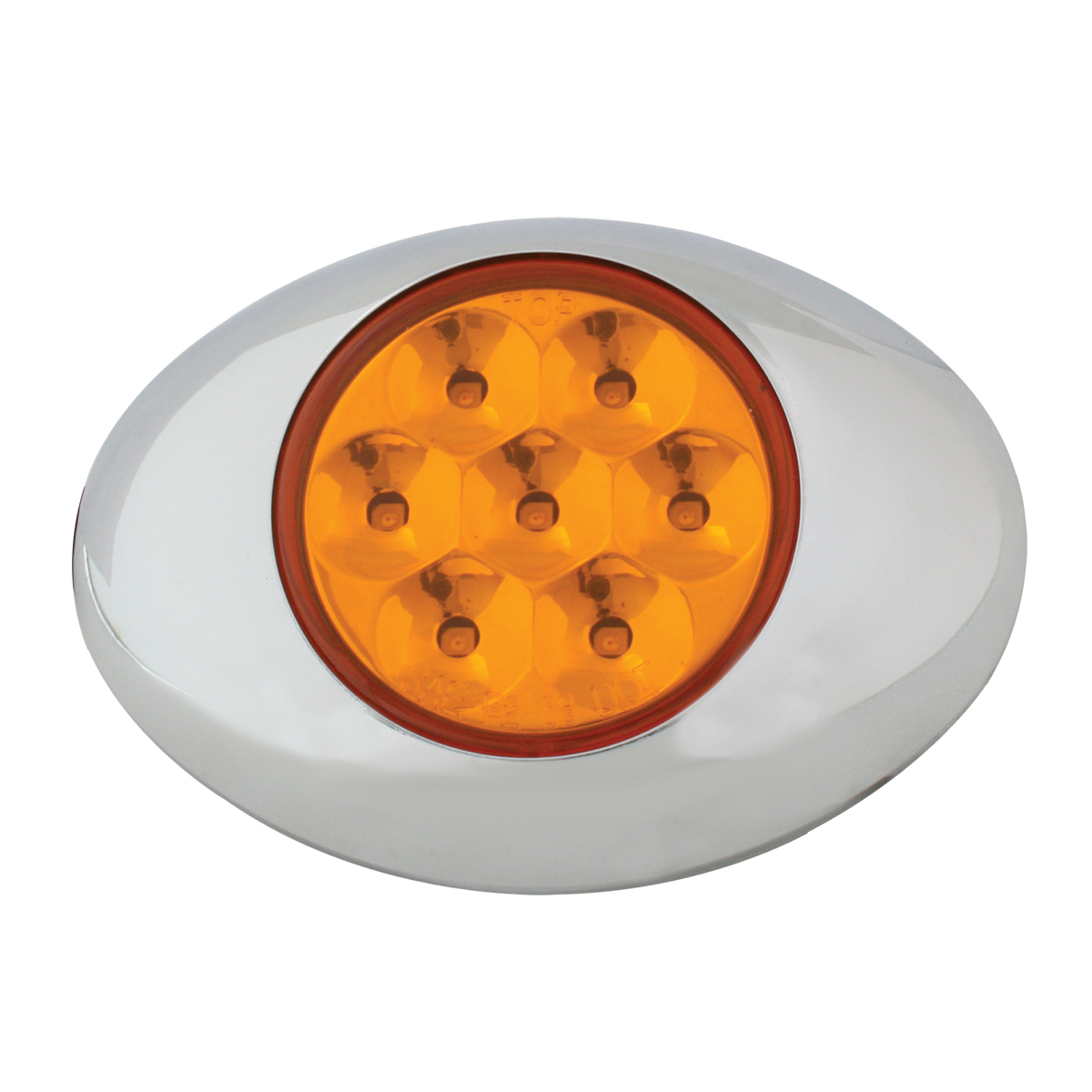 Small Pearl LED Light in Amber/Amber with Chrome Bezel
