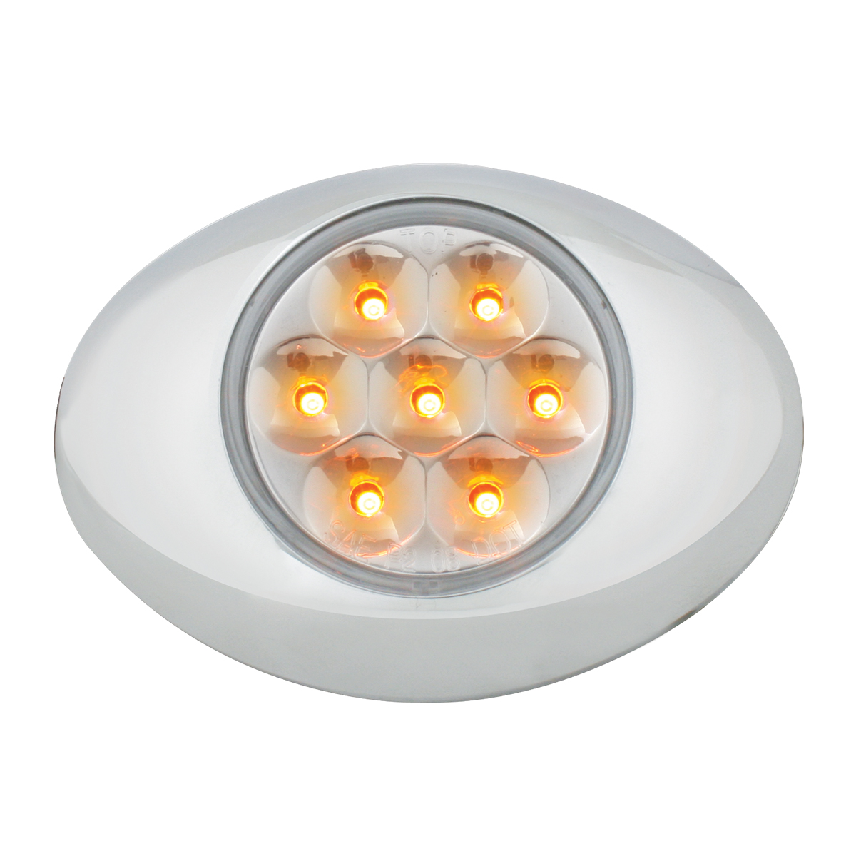Small Pearl LED Light in Amber/Clear with Chrome Bezel