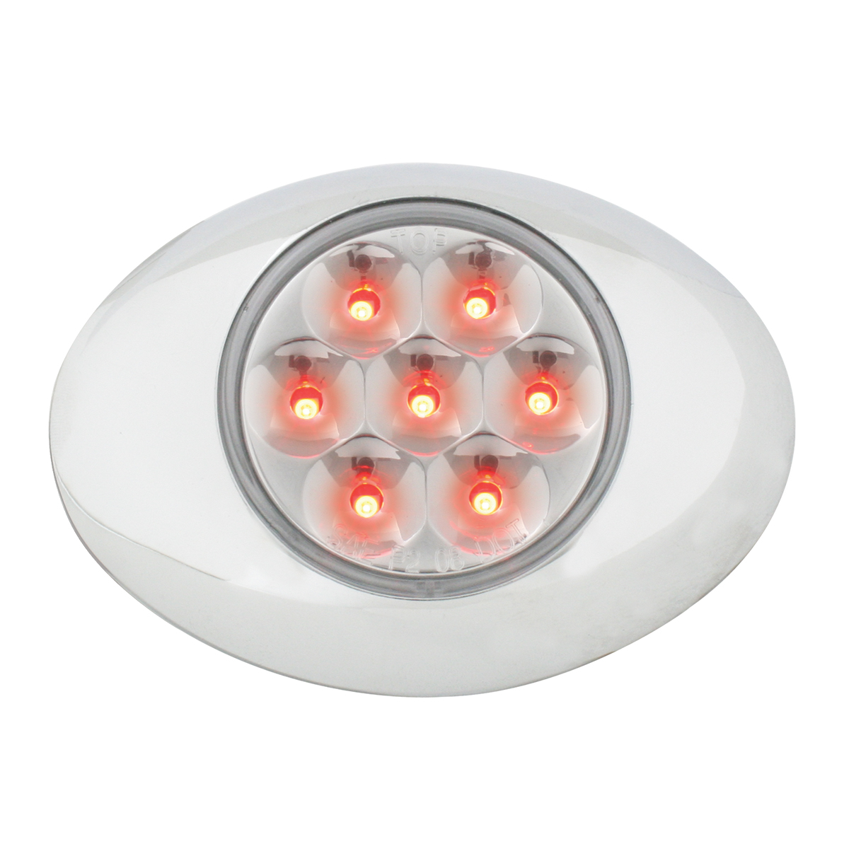 Small Pearl LED Light in Red/Clear with Chrome Bezel