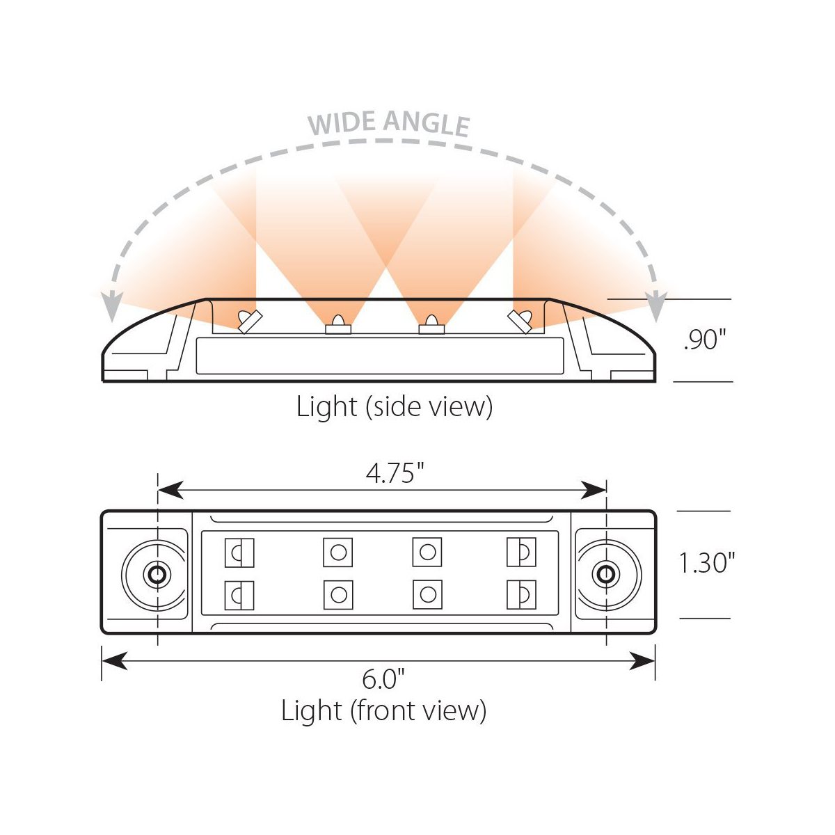 Rectangular Wide Angle LED Marker Light