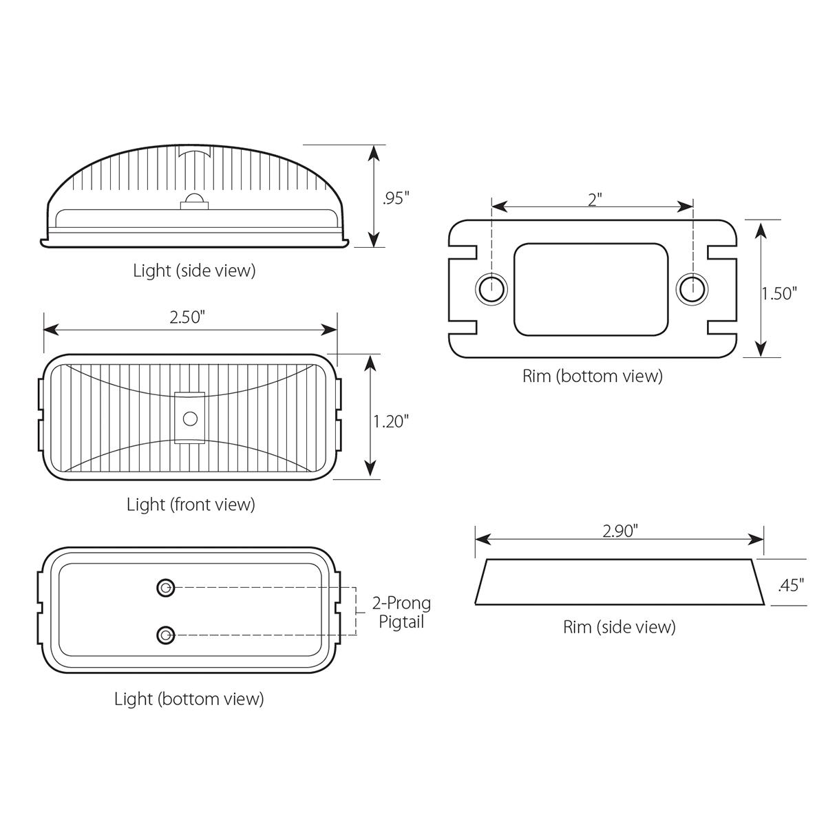 Small Rectangular Fleet LED Marker Light with Chrome Rim