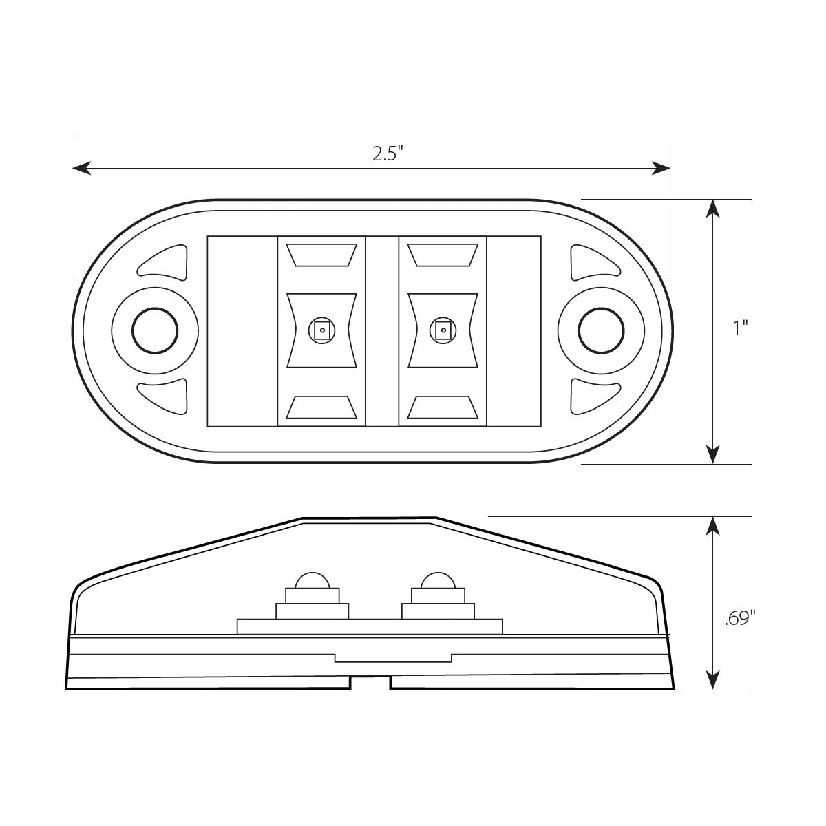 Small Oval LED Marker Light - Diagram