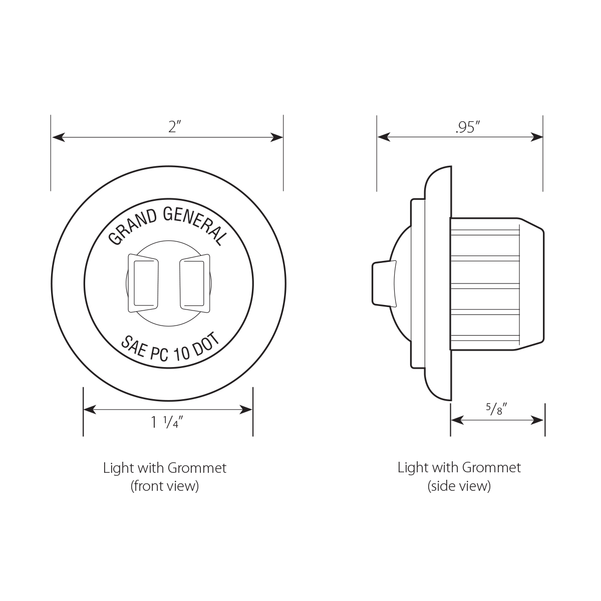 """1-1/4"""" Dia. Dual Function LED Light with Grommet"""