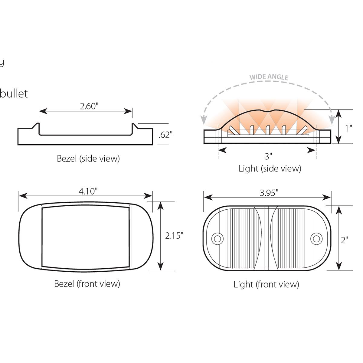 Rectangular Camel Back Wide Angle LED Marker Lights