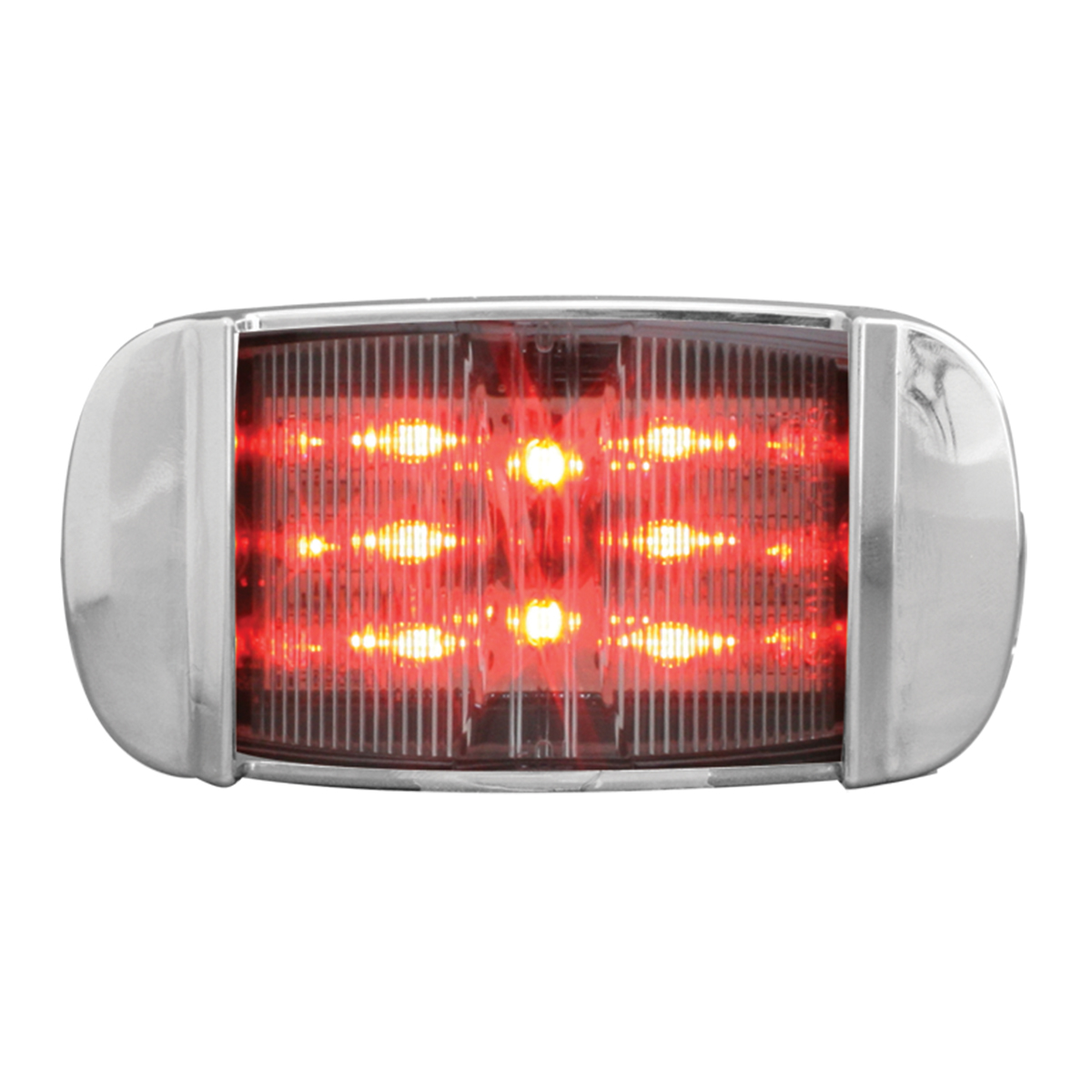 76257 Rectangular Camel Back Wide Angle LED Marker Light w/ Chrome Bezel