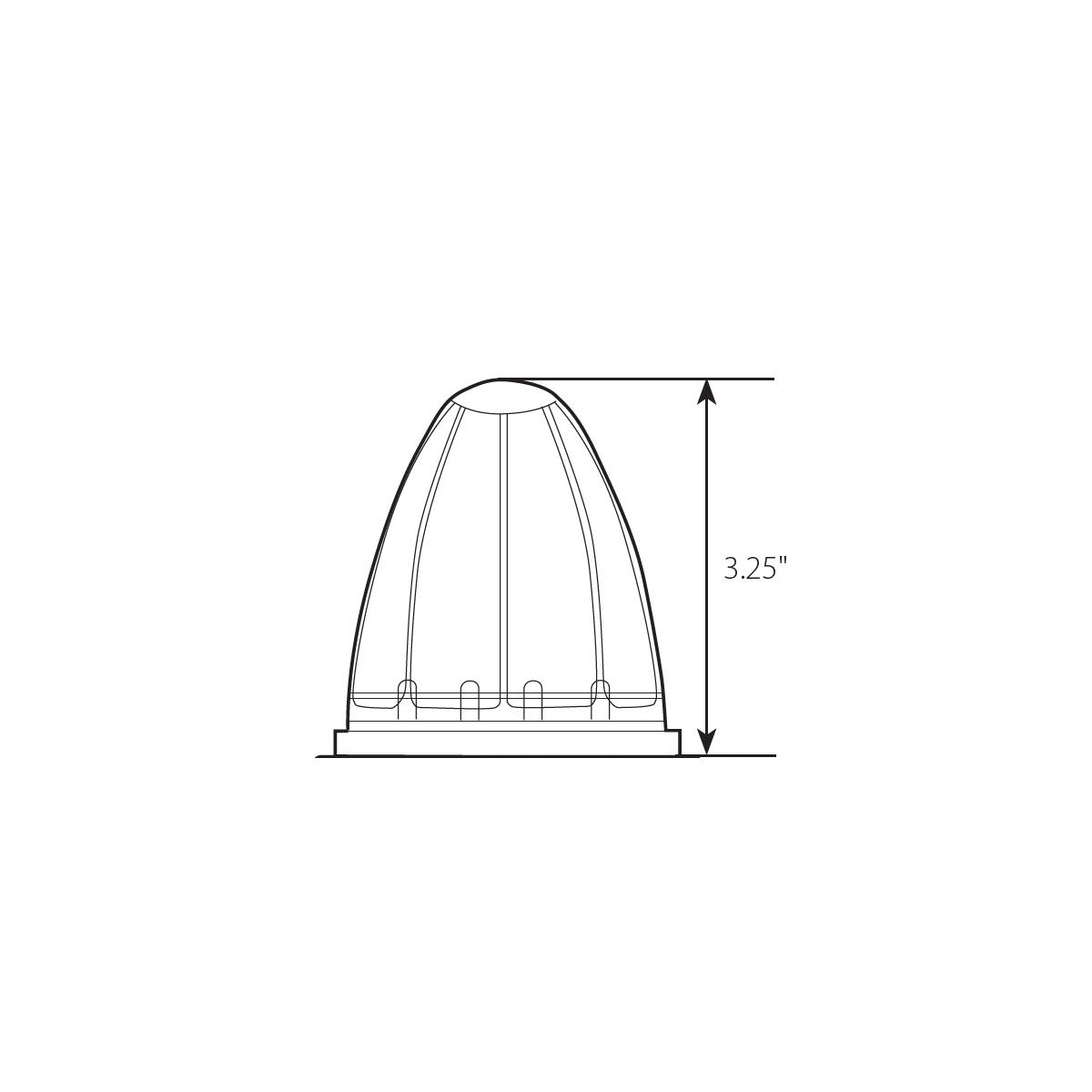 Watermelon Style Surface Mount LED Turn/Marker Light without Bezel - Diagram