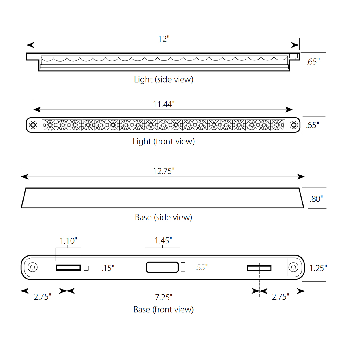 "12"" Dual Function LED Light Bar with Base"