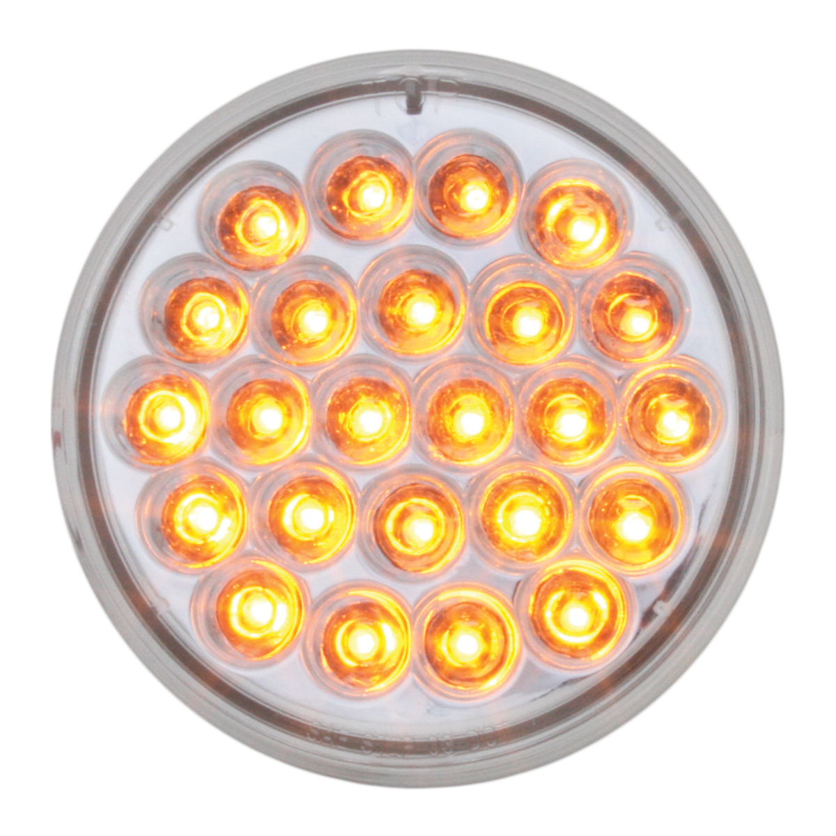 "#78271 4"" Round Pearl LED Flat Amber/Clear Light"