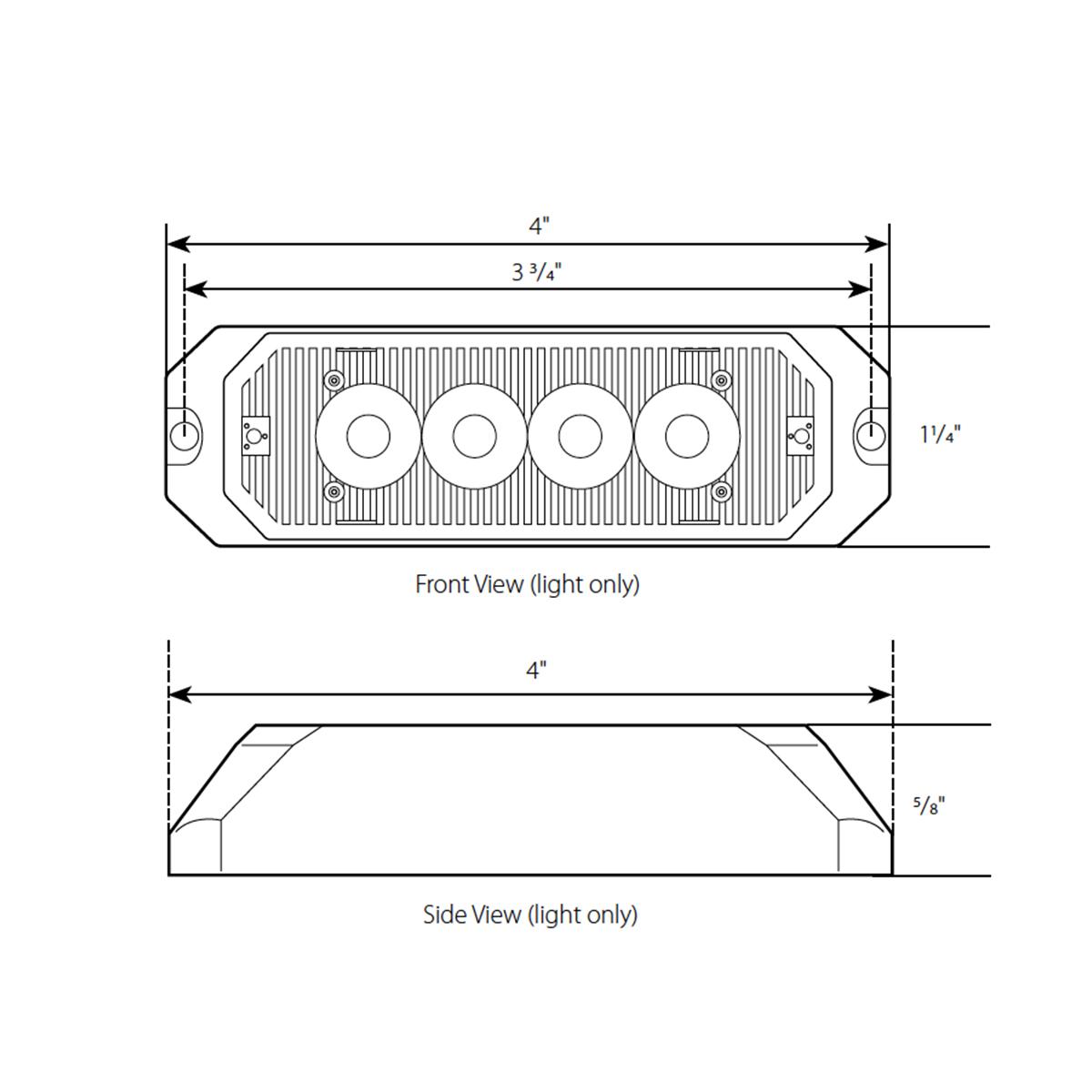 """4"""" Medium Rectangular High Power LED Strobe Light"""