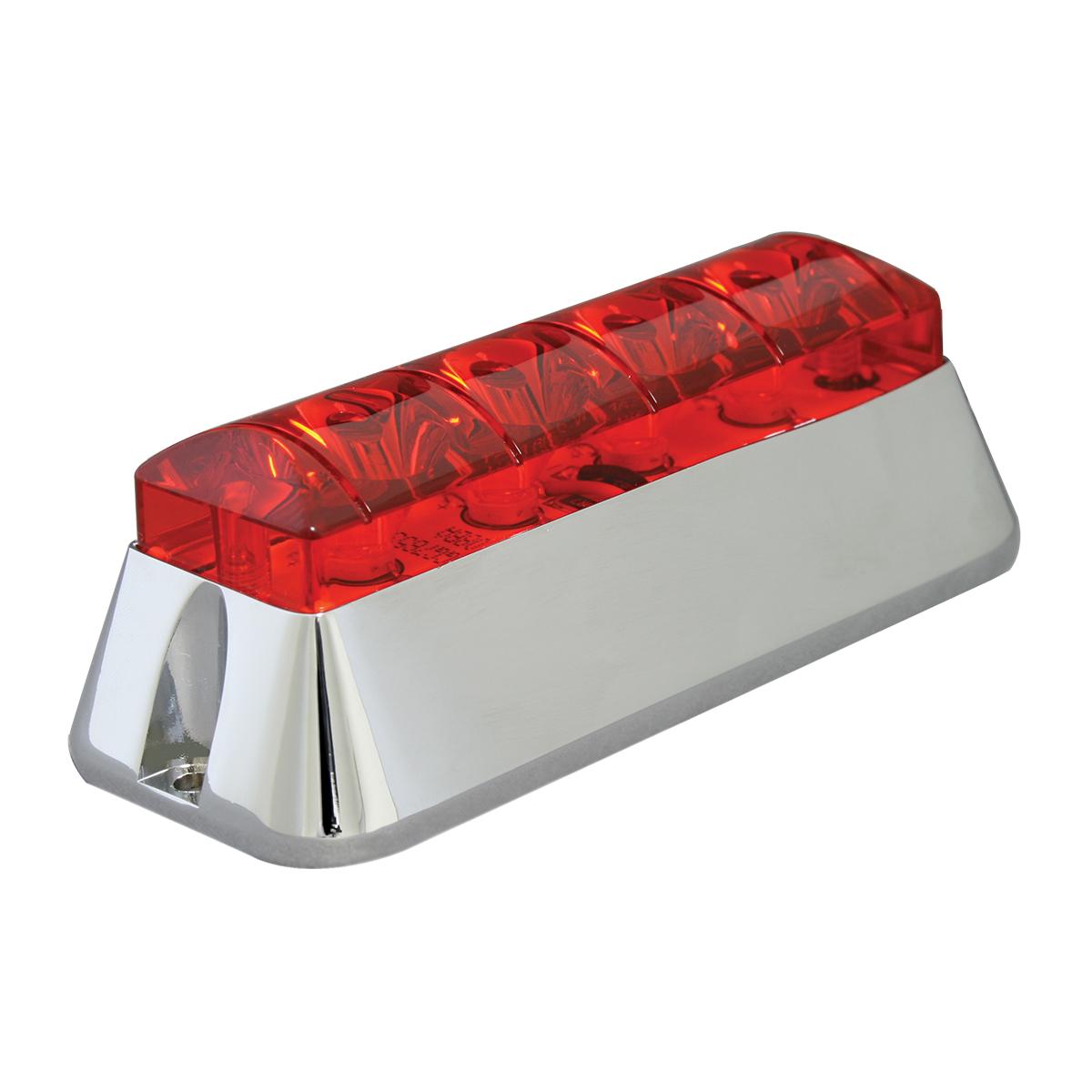 76532 Red/Red Medium Rectangular 4 LED Strobe Light