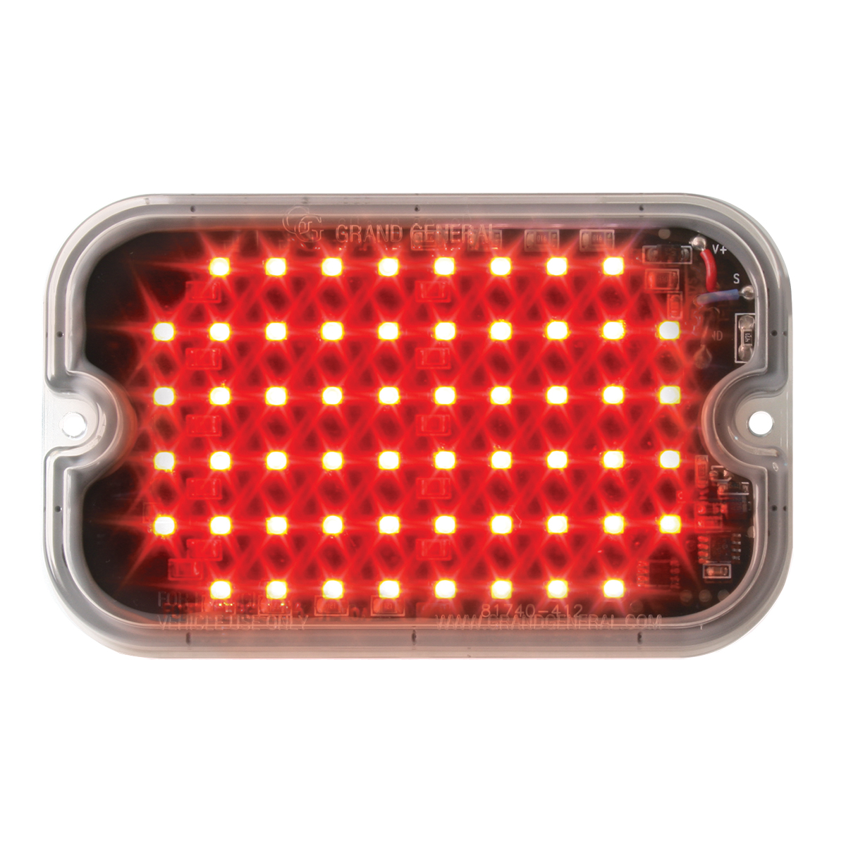 81743 Red/Clear Ultra Thin Large Rectangular Strobe LED Light